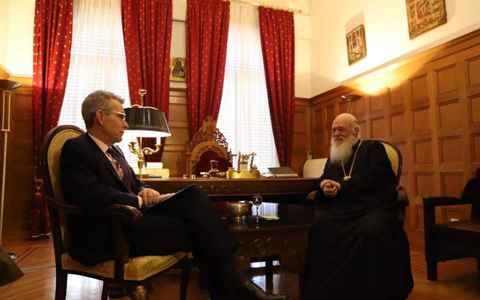 """Συνάντηση Αρχιεπισκόπου Ιερώνυμου & Τζ. Πάιατ: """"Η Ελλάδα δέχεται συνεχή εκβιασμό από την Τουρκία…"""""""