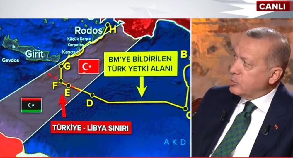 """Ρ.Τ. Ερντογάν: """"Δεν φεύγουμε από τη Λιβύη, έως ότου εδραιώσουμε τα θαλάσσια δικαιώματά μας στην Α. Μεσόγειο.."""""""