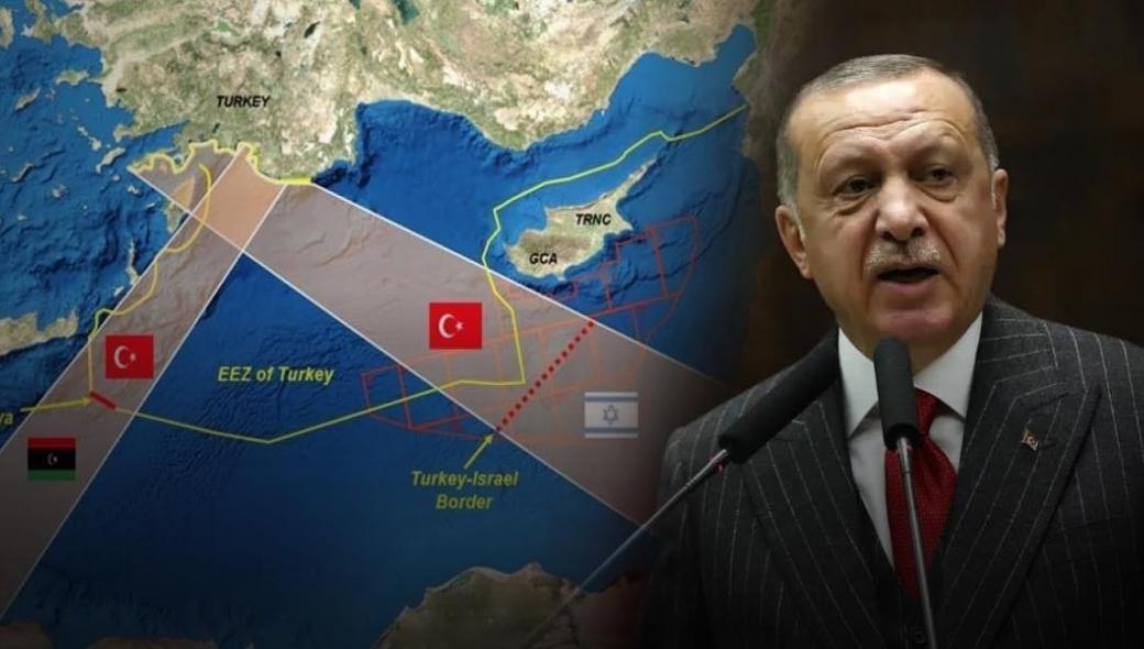 Έρχεται συμφωνία για τις ΑΟΖ Τουρκίας – Παλαιστίνης; – Ο Ερντογάν επιχειρεί να «εξαφανίσει» από τον χάρτη Ελλάδα και Κύπρο